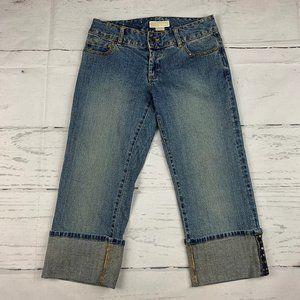 Michael Kors cuff crop studded straight jeans T12